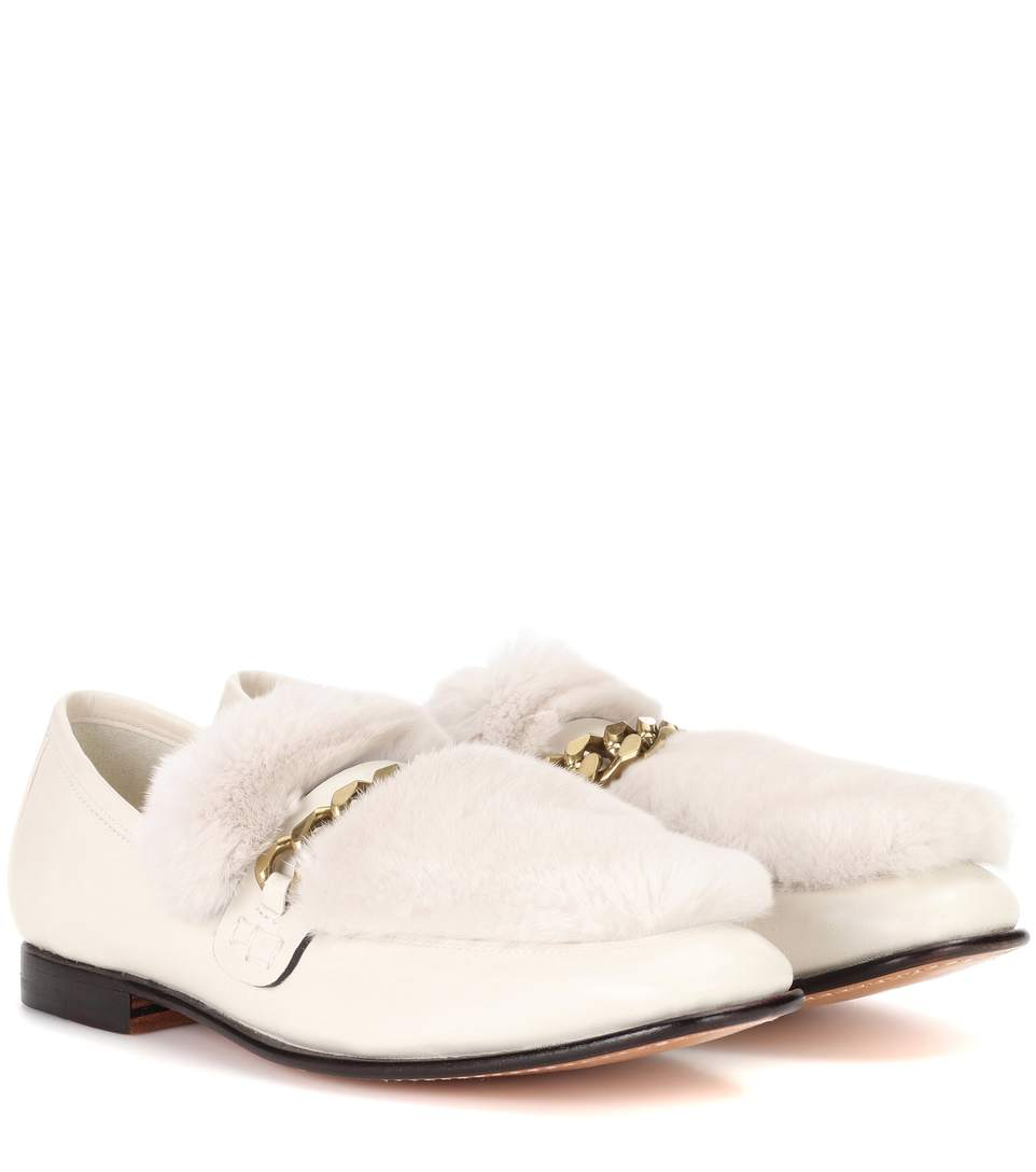 BOYY Loafur Fur-Trimmed Leather Loafers in White