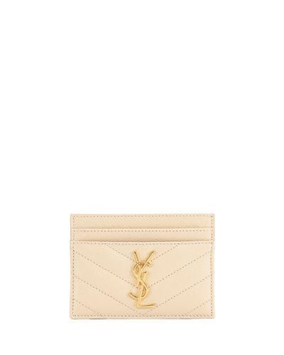 Saint Laurent Monogram Ysl MatelassÉ Leather Card Case, Black