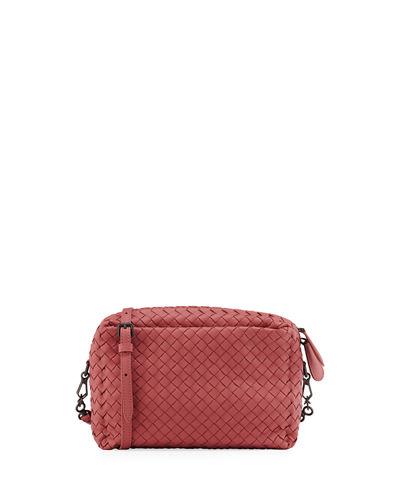 Bottega Veneta Small Intrecciato Camera Bag, Pink, Light Gray