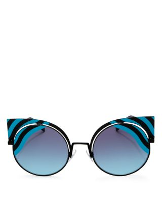 Hypnoshine Striped Cutout Sunglasses, Black/Turquiose, Black/Blue/Blue Gradient