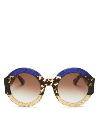 Glittered Oversized Round Sunglasses, Blue/Beige/Tortoise, Fuchsia, Blue Tortoise Gold/Brown