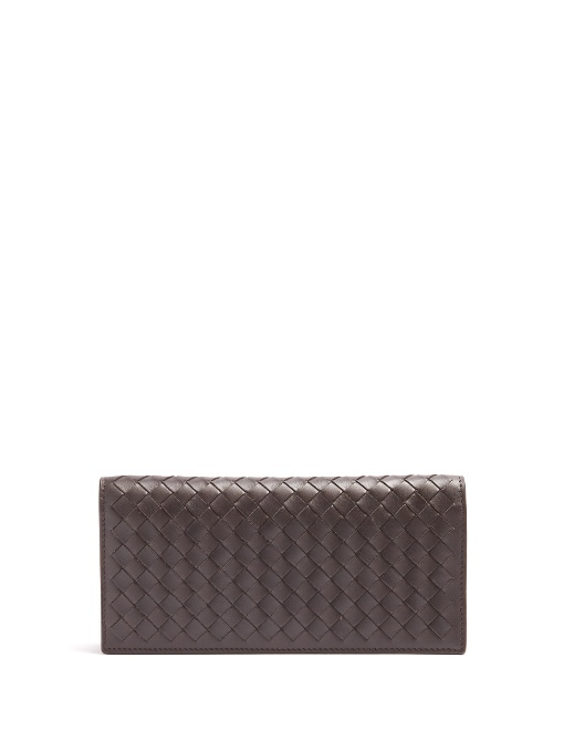 BOTTEGA VENETA Bi-Fold Intrecciato Leather Wallet, Brown