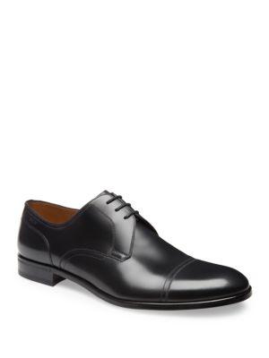 Coper Negro, Ternera Zapato De Hombre Derby De Cuero Negro En Bally