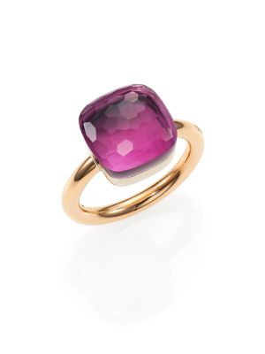 POMELLATO Nudo Rose Gold & Amethyst Ring, Grande, Size 5.5 in Rose Gold-Amethyst