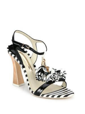 Layla Flower Tassel Patent Leather T-Strap Sandals, Black-White
