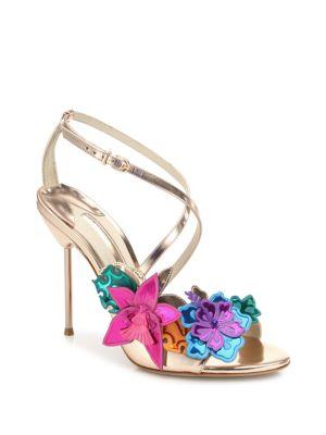 SOPHIA WEBSTER Hula Floral-Embellished Metallic Leather Crisscross Sandals in Rose-Gold