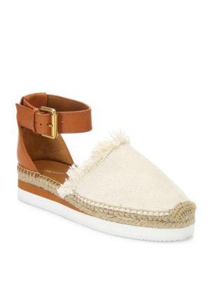 See By Chloe Women'S Ankle Strap D'Orsay Espadrille Platform Sandals, Beige/ White