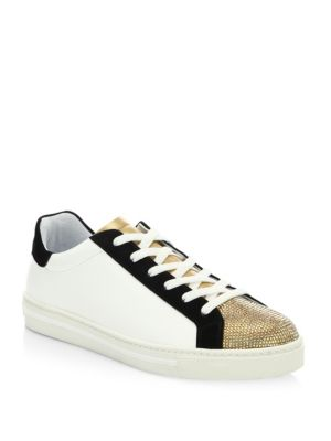 RENÉ CAOVILLA Crystal-Embellished Leather & Suede Low-Top Sneakers, White  Black Gold