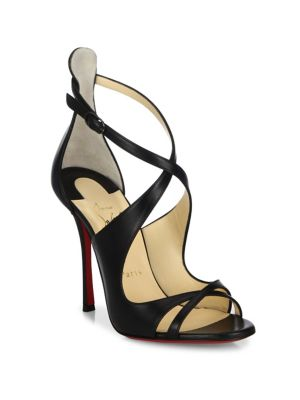 CHRISTIAN LOUBOUTIN Malefissima Crisscross 100Mm Red Sole Sandal, Black