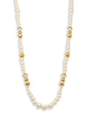 Tory Burch Capped Simulated Pearl Strand Necklace, 38, Ivory