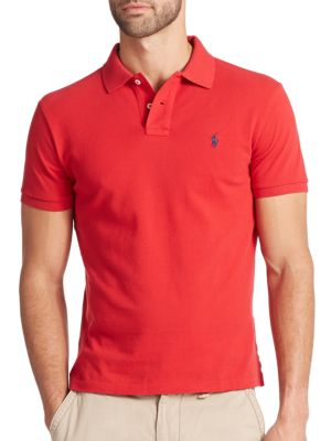 POLO RALPH LAUREN Custom Short-Sleeved Cotton Mesh Polo - Slim Fit in Red