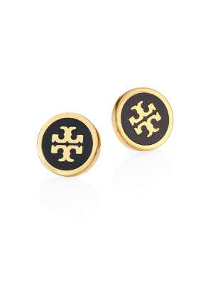 Lacquered Raised Logo Stud Earrings in Black/Tory Gold