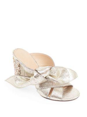 Nellie Bow Metallic Leather & Crystal Block Heel Slides, Grey Glitter