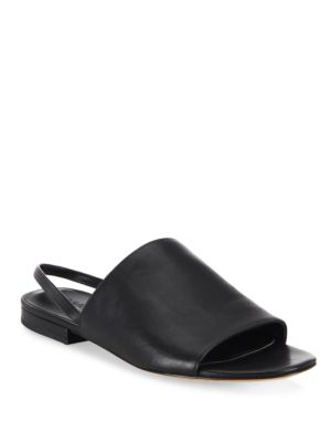 286b25ce48e Vince Dawson Leather Flat Slingback Slides In Black
