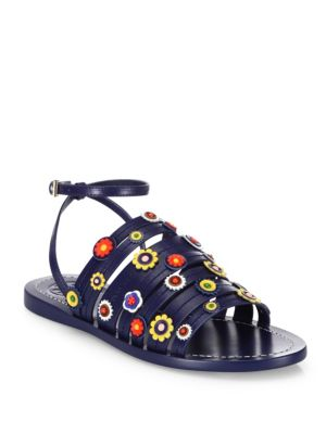 22d90561885 TORY BURCH Marguerite Floral Leather Flat Ankle-Strap Sandals ...