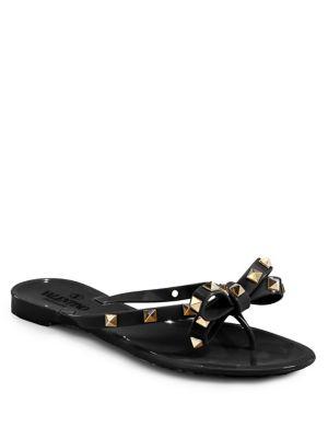 Pvc Bow Rockstud Flat Thong Sandal, Black