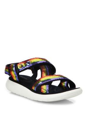 Comet Embellished Strappy Platform Sandals, Rainbow