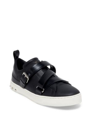 'V-Punk' Crisscross Strap Leather Sneakers in Black