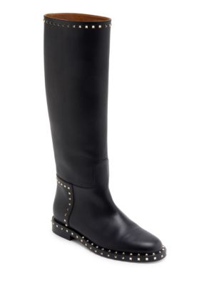 Soul Rockstud Leather Knee-High Boots in Black
