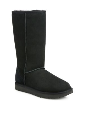Women'S Classic Ii Genuine Shearling Lined Tall Boot, Black Suede