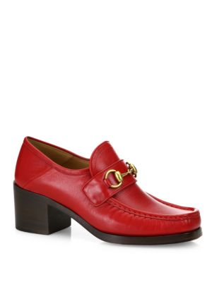 GUCCI WOMEN'S VEGAS LEATHER MID HEEL LOAFERS, RED