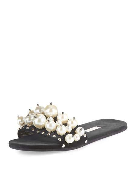 Imitation Pearl Embellished Slide Sandal, Nero