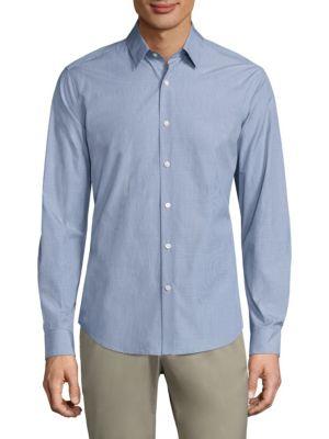 Theory Sylvain Combo Check Regular-Fit Cotton Shirt, Bright Sky Multi