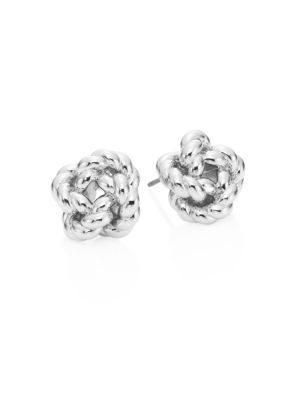 TORY BURCH ROPE KNOT STUD EARRINGS/SILVERTONE, TORY SILVER