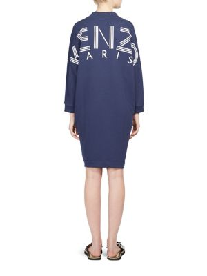 KENZO Logo Cotton Tunic Dress in Midnight Blue