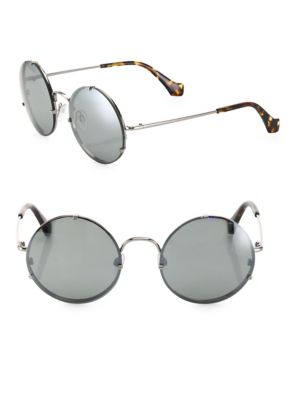 Balenciaga Round Monochromatic Metal Sunglasses, Light Ruthenium/Havana, Black