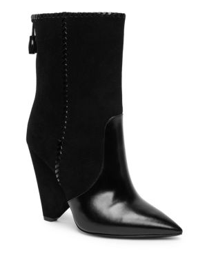Niki Whipstitch Suede & Leather Point Toe Booties, Black
