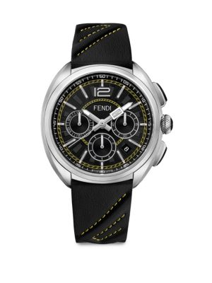 FENDI Momento Chronograph Leather Strap Watch, 46Mm in Black