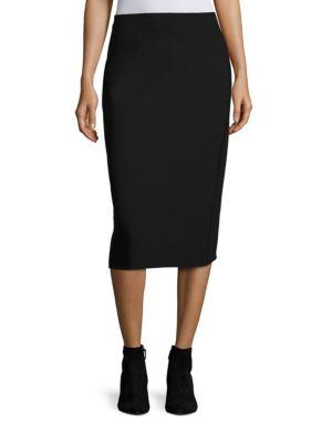 Scuba Tech-Fabric Pencil Skirt - Black Size M