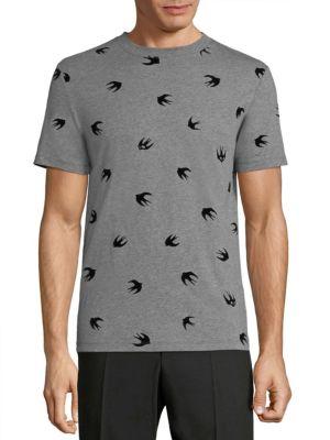 MCQ BY ALEXANDER MCQUEEN Mcq Alexander Mcqueen Flocked Swallow T-Shirt - Grey