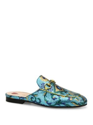 Gucci Princetown Metallic Brocade Loafer Slides, Multi
