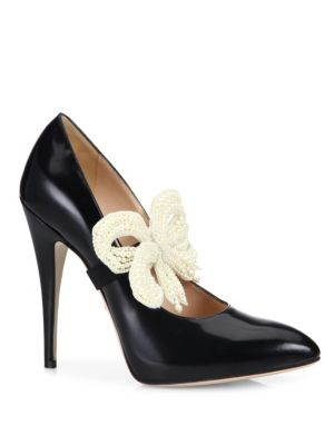 Elaisa Removable Pearly Bow & Leather Point Toe Pumps, Black