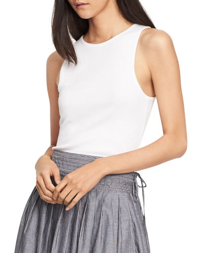 VINCE High-Neck Ribbed Tank Top, Black in Heather Black