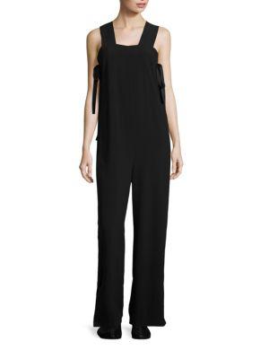 Side-Tie Crepe Jumpsuit - Black Size S