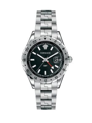 VERSACE Hellenyium Gmt Stainless Steel Bracelet Watch in Silver