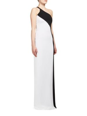 Stella Mccartney Woman Natalia One-shoulder Two-tone Stretch-cady Gown White Size 40 Stella McCartney Cost n5XRXH