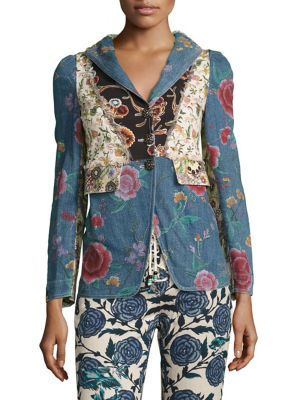 ROBERTO CAVALLI Floral Patch Fitted Jacket in Blue