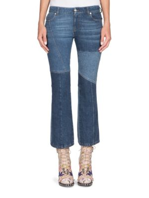 Patchwork Cropped Mid-Rise Flared Jeans in Blue