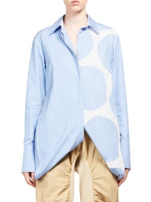 Striped Open-Side Poplin Top, Blue/White