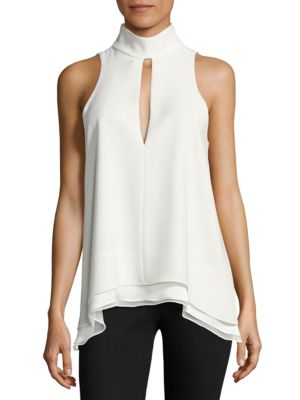 Cinq À Sept Woman Envie Asymmetric Cutout Crepe Top Ivory Size XL Cinq à Sept Cheap Footlocker Finishline Free Shipping Fast Delivery Sast Cheap Online Clearance Cheap Real Ozbmafli