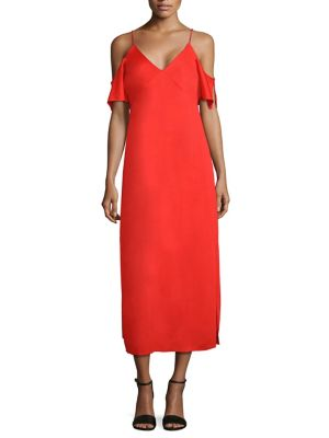 T By Alexander Wang Woman Off-the-shoulder Chain-embellished Stretch-crepe Midi Dress Red Size 4 Alexander Wang OYOgSW2