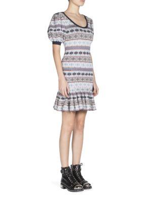 Woman Fair Isle Jacquard-Knit Silk-Blend Mini Dress Gray, Navy-Bordeaux