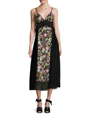 Woman Cutout Floral-Print Silk Midi Dress Black