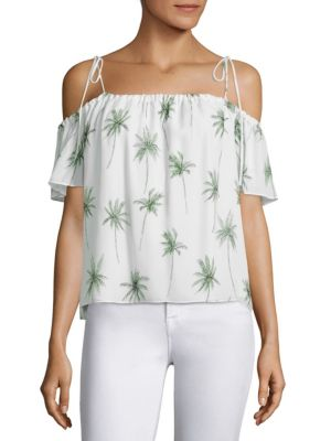 MILLY EDEN OFF-THE-SHOULDER PALM TREE-PRINT SILK TOP, MULTI, MULTICOLOR