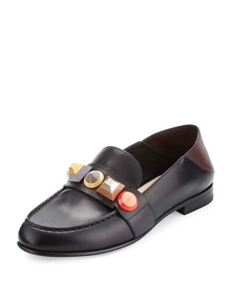 FENDI Rainbow Stud Leather Loafer, Nero/Bordeaux/Multi, Black in Colour: Black