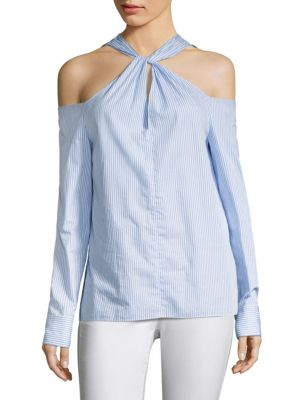 Woman Cold-Shoulder Twisted Striped Cotton-Poplin Top Light Blue